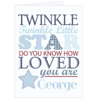 Personalised Twinkle Blue Card