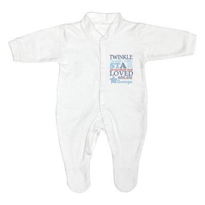 Personalised Twinkle Blue Babygrow