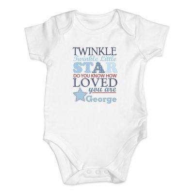 Personalised Twinkle Blue Baby Vest