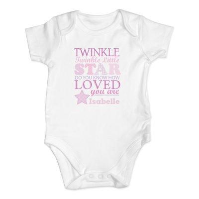 Personalised Twinkle Pink Baby Vest
