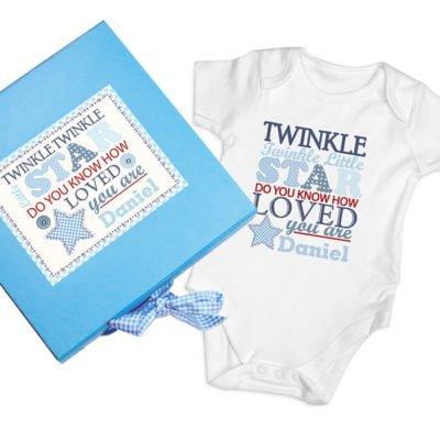 Personalised Twinkle Blue Baby Vest Gift Set