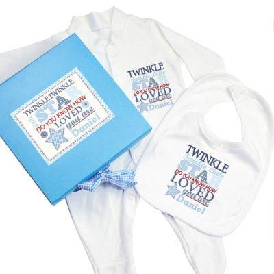 Personalised Twinkle Blue Baby Gift Set
