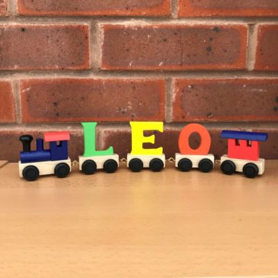 Multi Coloured Wooden Name Train with Dark Blue & Red Engine and Carriage