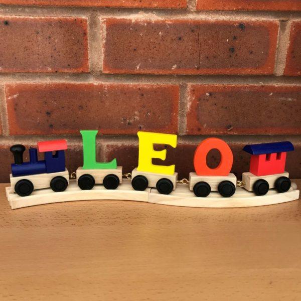 Multi-coloured-wooden-name-train