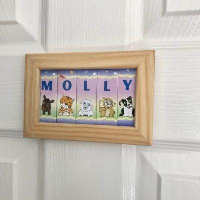 Wooden Framed Name – Animals (Pink/butterflies)