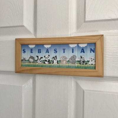Wooden Framed Name – Animals (Blue/trees)