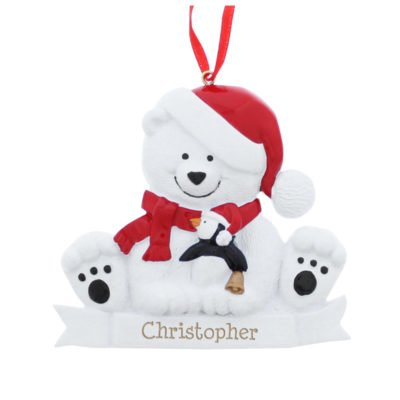 Personalised Polar Bear Resin Decoration
