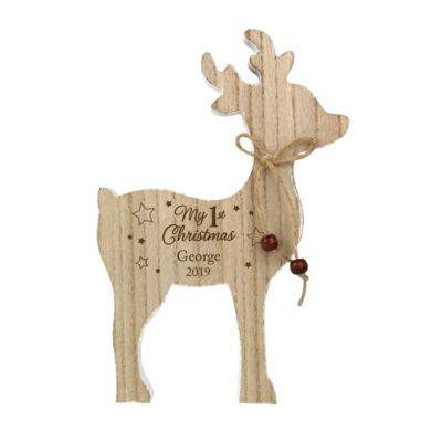 1st Christmas Rustic Wooden Reindeer