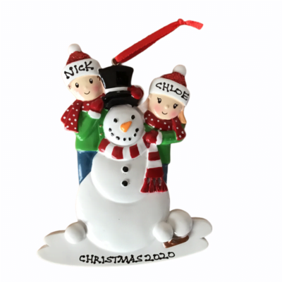 Snowman Personalised Christmas Tree Decoration 2 Hat Design