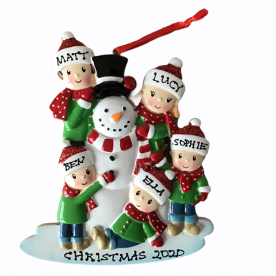 Snowman Personalised Christmas Tree Decoration 5 Hat Design