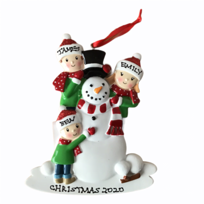 Snowman Personalised Christmas Tree Decoration 3 Hat Design
