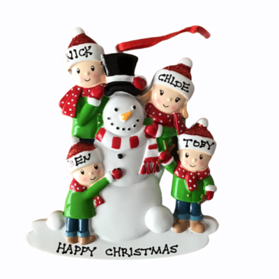 Snowman Personalised Christmas Tree Decoration 4 Hat Design