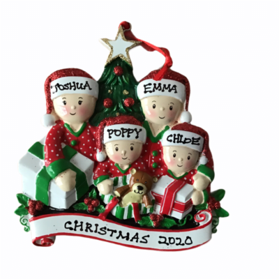Opening Presents Personalised Christmas Tree Decoration 4 Hat Design