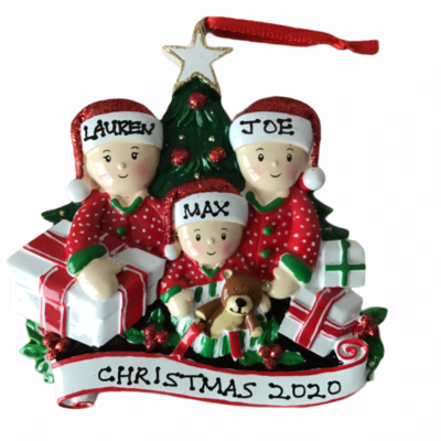 Opening Presents Personalised Christmas Tree Decoration 3 Hat Design