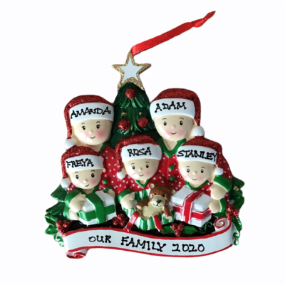 Opening Presents Personalised Christmas Tree Decoration 5 Hat Design