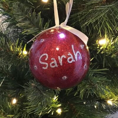 Red Personalised Flashing LED Christmas Baubles