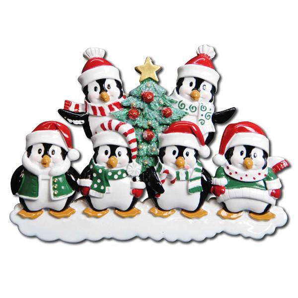 penguins personalised christmas tree decoration 6 hats