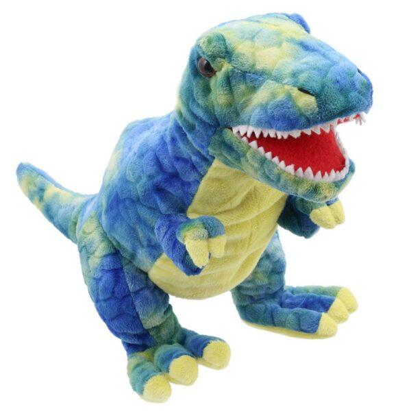 blue t rex hand puppet